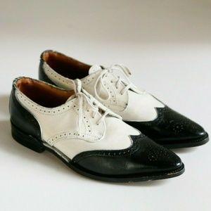 John Fluevog Spectator Black White Lace Up Loafer
